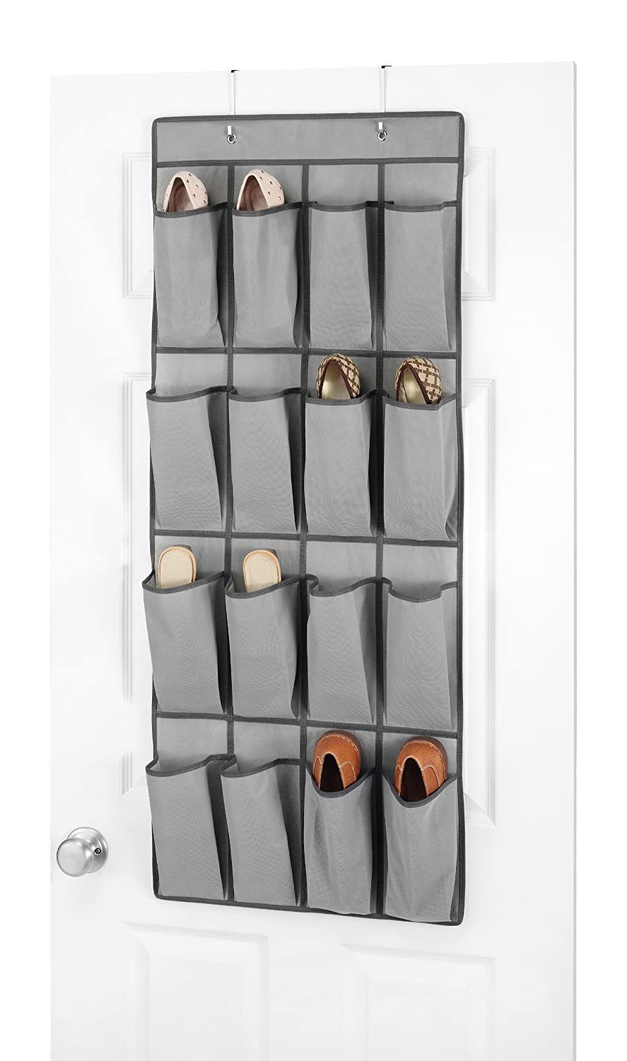 Whitmor 6536-87-GREY Over The Door Shoe Organizer