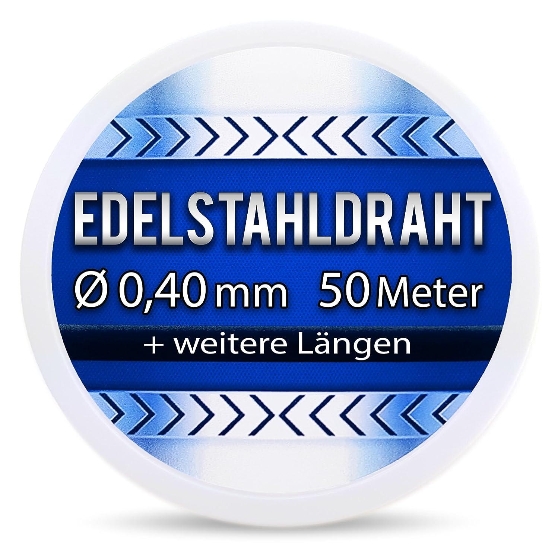 Edelstahldraht V2A - Ø 0, 40 mm 50 Meter (0, 12 EUR/m) Edelstahl Draht Heizdraht Schneidedraht Wickeldraht S304 AWG26 0, 4 Peak & Hill ®