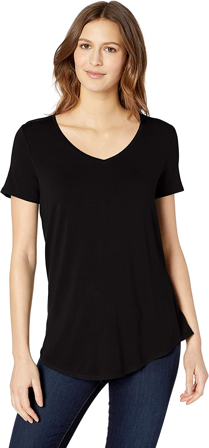 Amazon Essentials Women's Relaxed-Fit Short-Sleeve V-Neck Tunic
