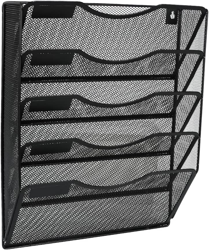 EasyPAG 5 Pockets Wall File Holder Organizer Hanging Magazine Rack,Black