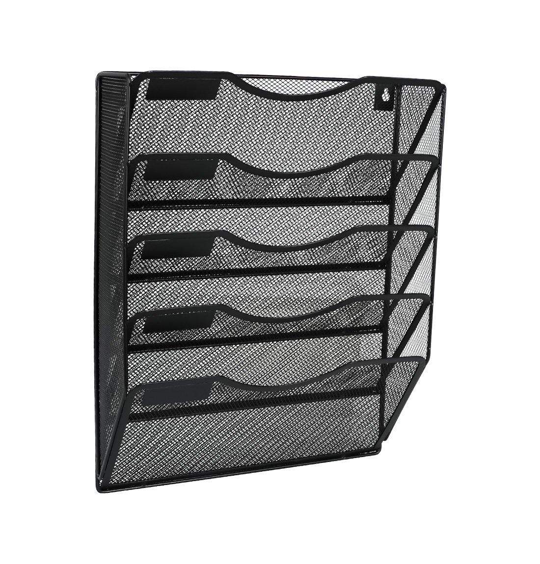 Denozer Mesh 5 Slot Wall Mount Hanging File Organizer Holder Magzine Rack,Black by Denozer