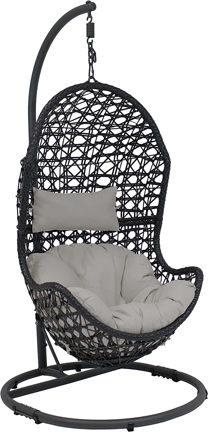 Amazon Com Sunnydaze Cordelia Hanging Egg Chair Swing With Steel Stand Set Resin Wicker Porch Swing Large Basket Design Patio Swing Outdoor Lounging Chair Includes Gray Cushion And