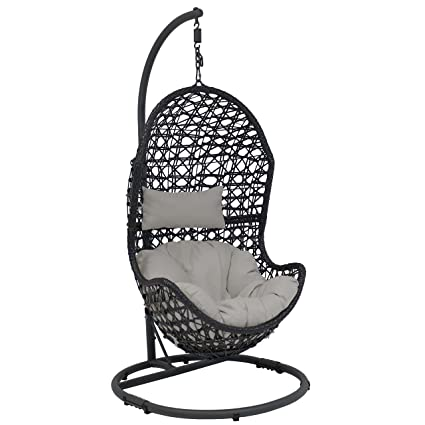 Sunnydaze Cordelia Hanging Egg Chair With Steel Stand Set, Resin Wicker,  Large Basket Design