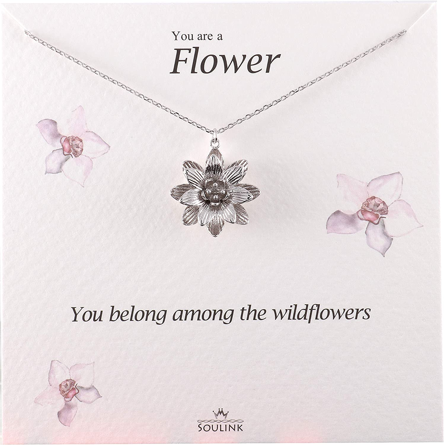 YFN Yoga Lotus Flower Pendant Necklace with Om Symbol Sterling Silver with Pear Shape Cubic Zirconial Lotus Flower Jewelry Earrings for Mom Women Wife Mother Day Birthday Gift Lotus Necklace