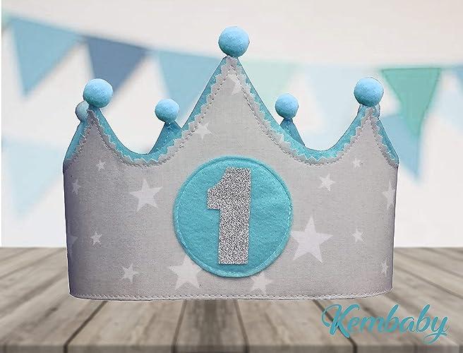 Corona Tela Primer Cumpleanos 1 Ano Para Bebes Ninos Y Ninas Gris Y