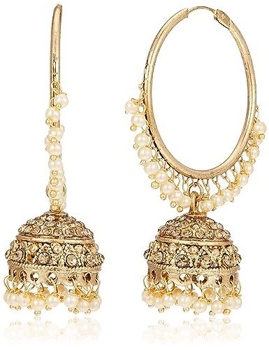 Buy Zaveri Pearls Chand Bali Earrings For Women Golden Zpfk7176