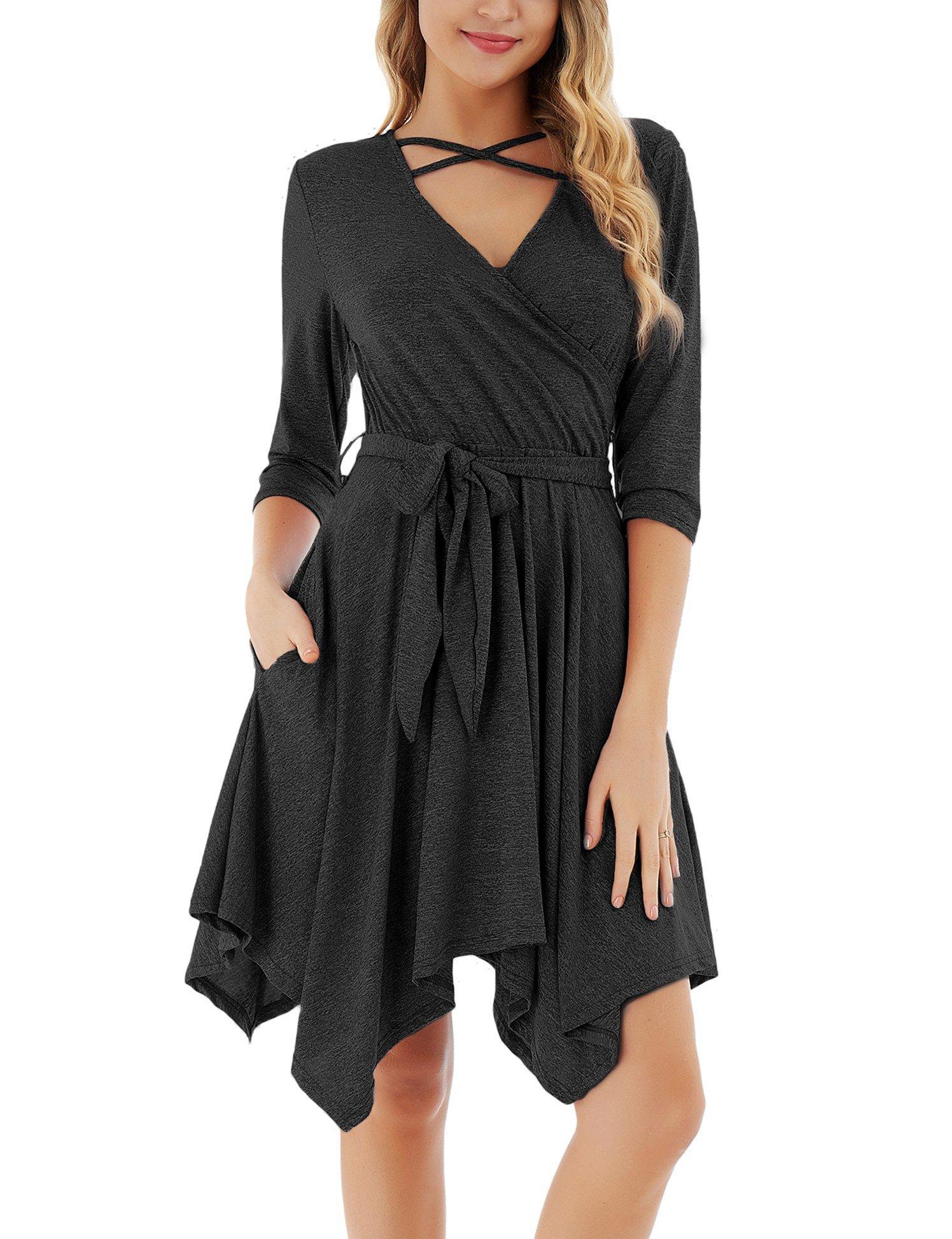 FISOUL Womens Tunic Dress Long Sleeve Criss Cross Casual Loose Party Swing Flared Midi Dress Black XL
