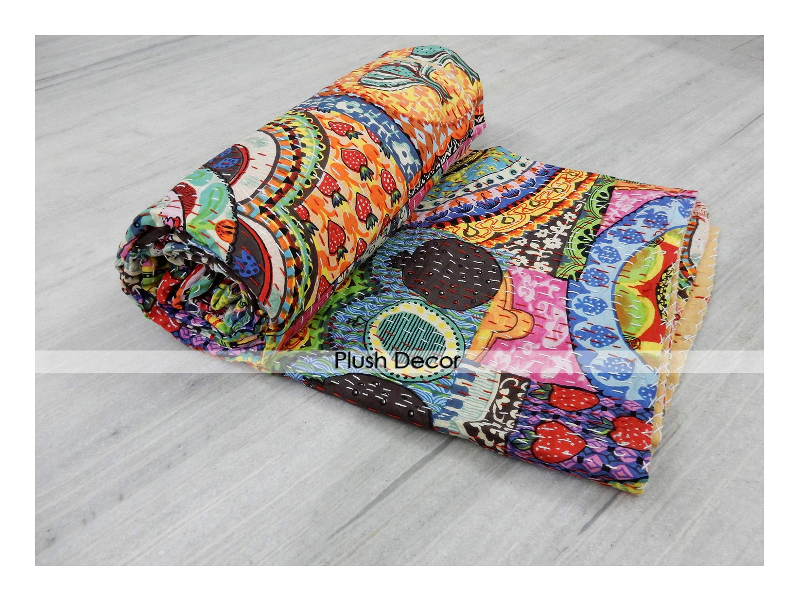 Plush Decor Indian Reversible Patchwork Kantha Quilt Bohemian Baby Bedding Vintage Blanket Throw Twin Bedspread
