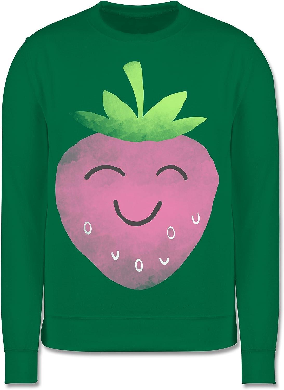 Shirtracer Kinder Pullover Bunt gemischt Kinder Fr/öhliche Erdbeere Wasserfarbe