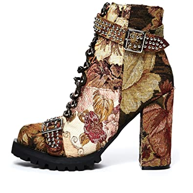 Lilith' beige tapestry patchwork combat boot