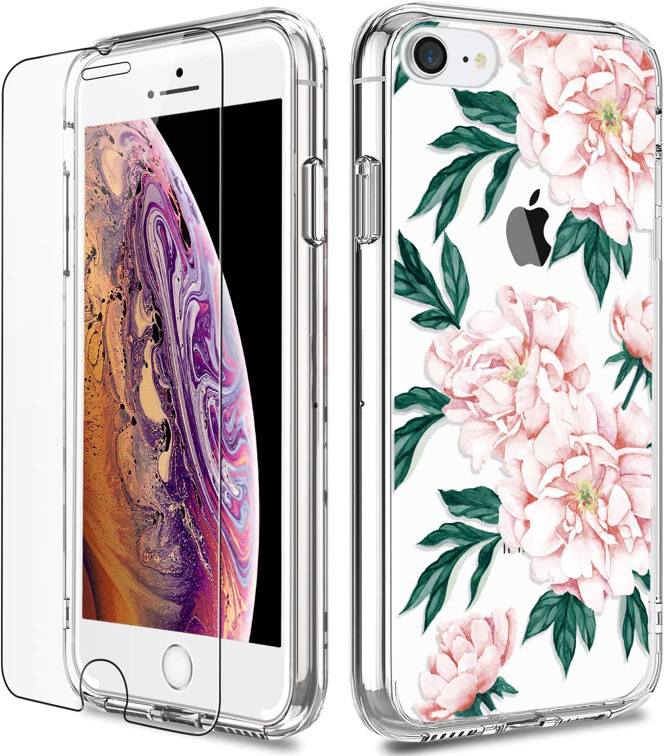 iPhone 7 Case, Clear iPhone 8 Case with Screen Protector, LUHOURI Girls Women Heavy Duty Protective Hard Case with Slim Soft TPU Bumper Cover Phone Case for iPhone 8 and iPhone 7, Pink Flower