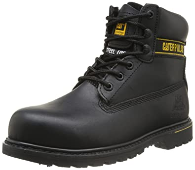 Caterpillar mens Caterpillar Mens Holton Steel Toe & Midsole Safety Boot S3  Black Leather UK 7