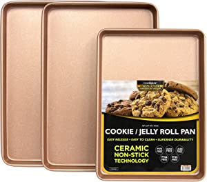 casaWare 3pc Ultimate Commercial Weight Cookie Sheet Set, Two 15 x 10-Inch Pans, One 13 x 9-Inch-Inch Pan (Rose Gold Granite)
