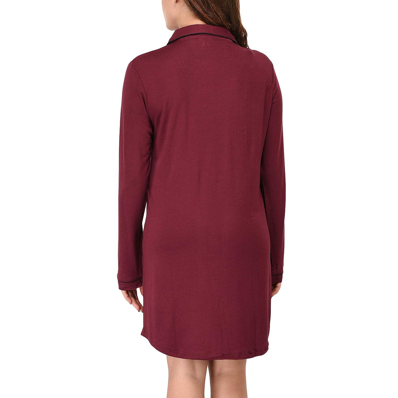 VDRNY Womens Long Sleeve Sleepwear Pajama Top Button Down Sleep Shirt Dress