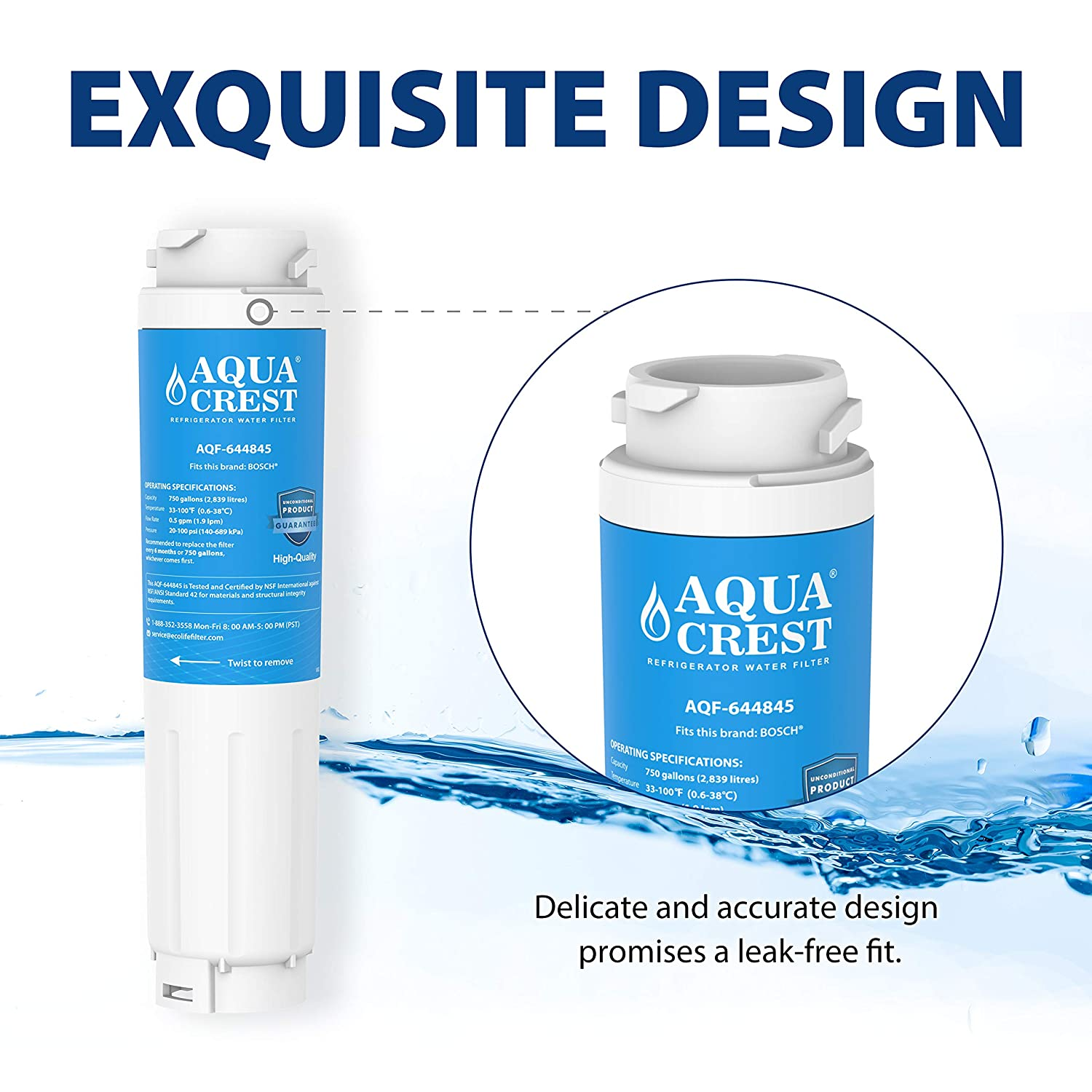 AQUACREST 644845 Replacement Refrigerator Water Filter, Compatible with  Bosch Ultra Clarity 644845 9000194412 9000 077104, Miele KWF1000, Haier