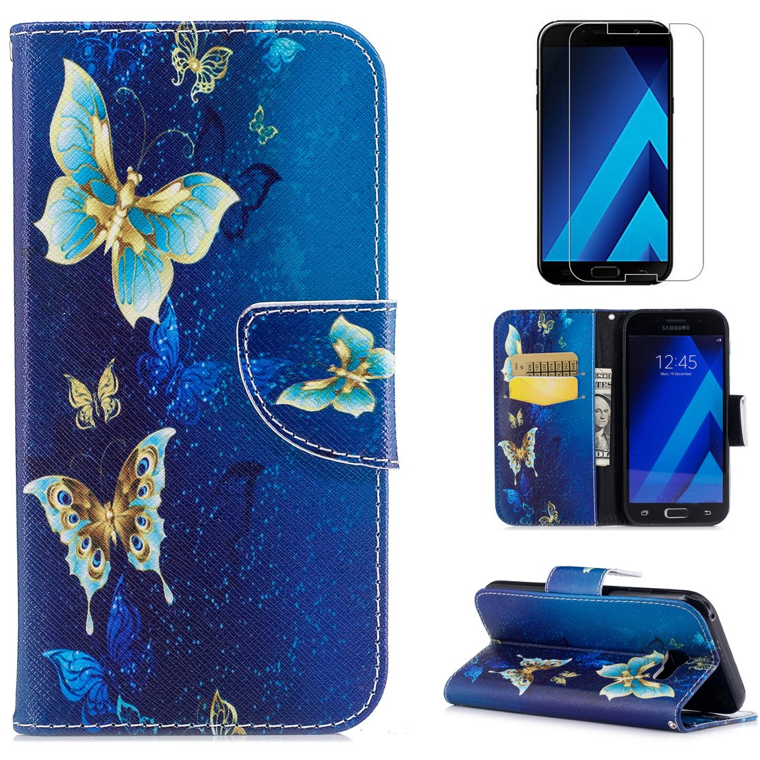 For Samsung Galaxy A5 2017 A520 Wallet Case and Screen Protector, OYIME [Colorful Painting] Elegant Pattern Design Bookstyle Leather Holster Kickstand Card Slots Function Full Body Protection Bumper Magnetic Closure Flip Cover with Wrist Lanyard - Cute Pan