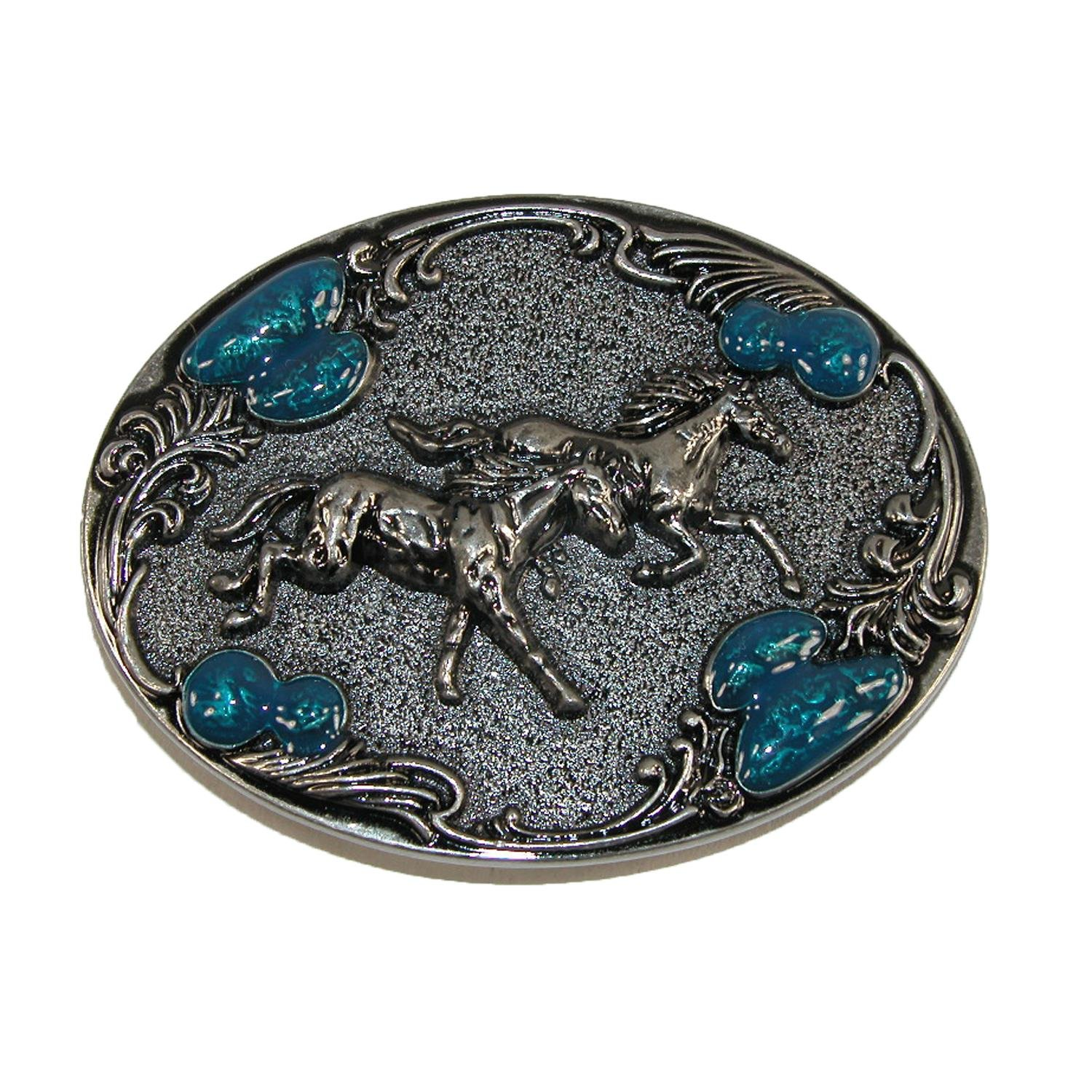 CTM® Women's Horse Belt Buckle with Turquoise Accents, Silver RR-1630-SIL