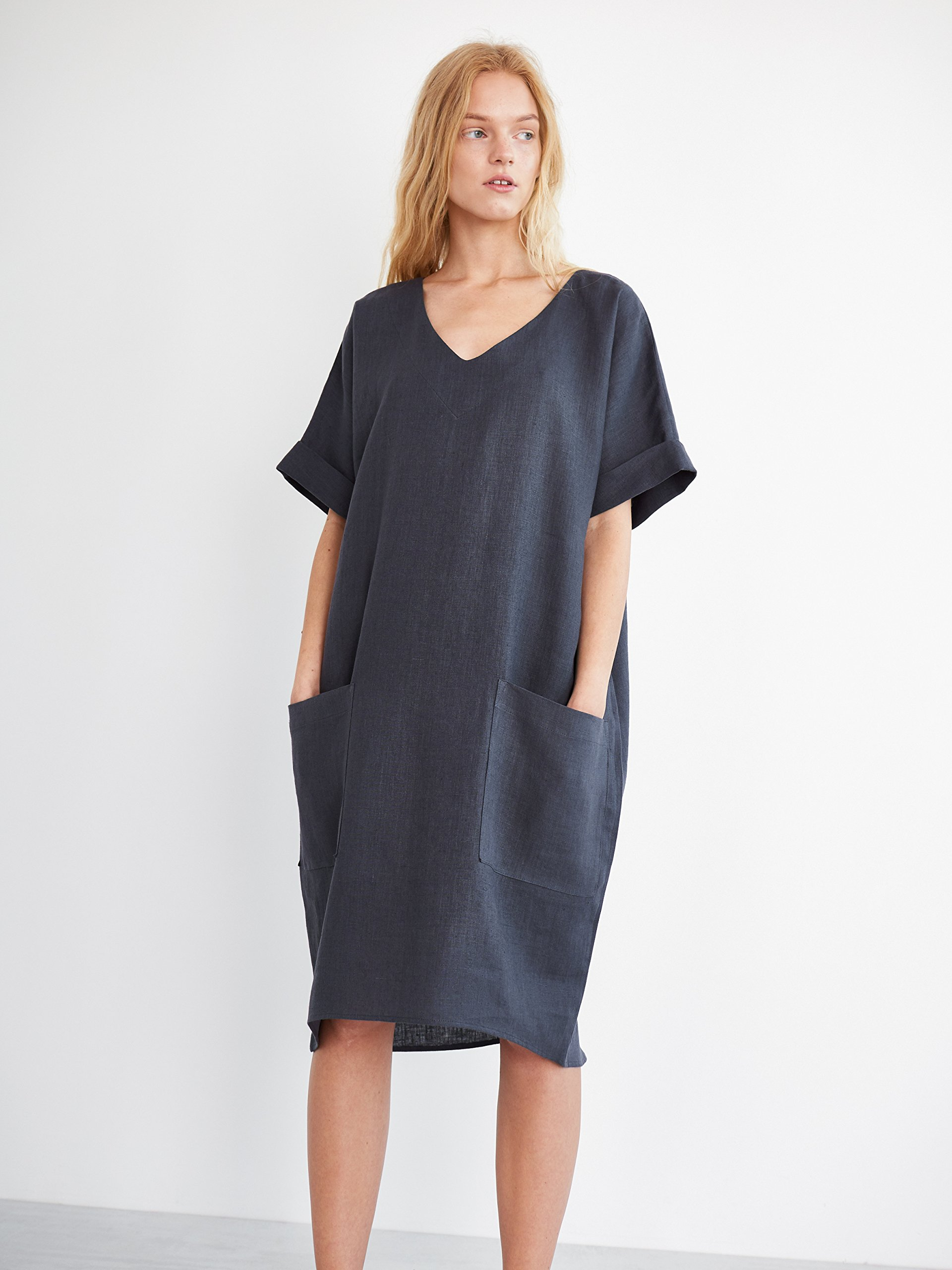 RUBY Oversized Linen Dress in Dark Grey Short Sleeve V-Neck Summer Dress Cocoon Relaxed Loose Fit Women Ladies Plus Size Clothing