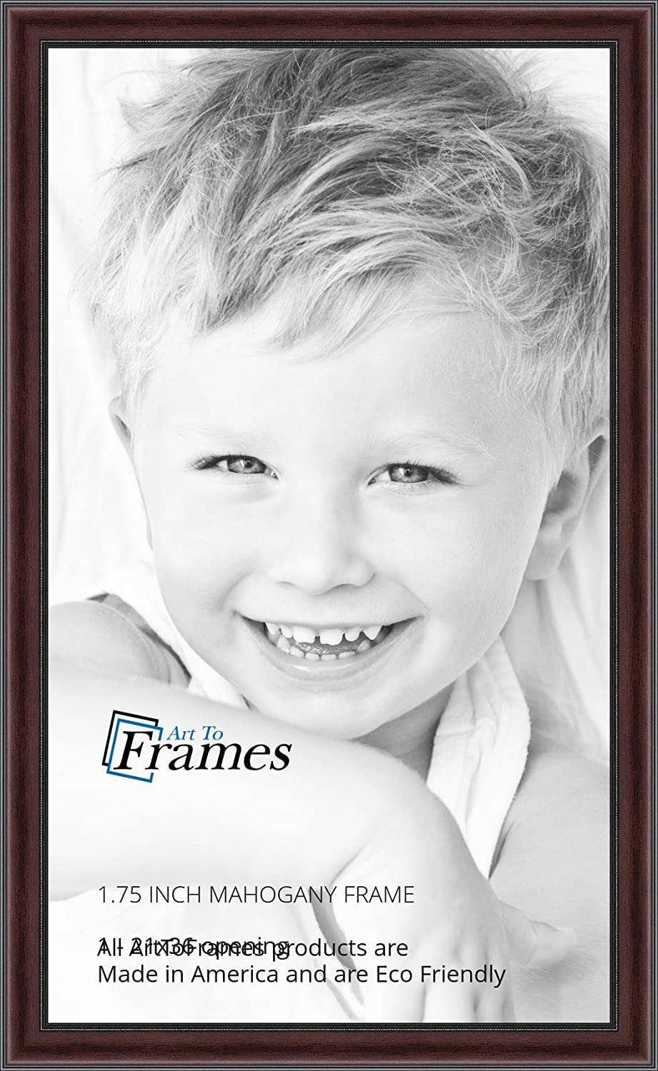 2WOMN9590-21x36 ArtToFrames 21x36 inch Mahogany and Burgundy with Beaded Lip Picture Frame