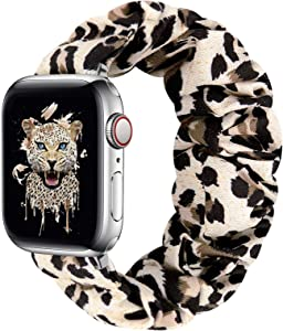 Compatible with Apple Watch Band 38mm 40mm 42mm 44mm, Cute Pattern Printed Scrunchie Apple Watch Band for Women, Bracelet Replacement Wristbands for Apple Watch Series 6 5 4 3 2 1 SE(L-38/40S)