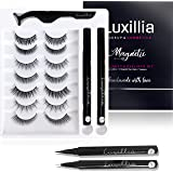 Luxillia (Clear + Black) Magnetic Eyeliner with Eyelashes Kit - Free Applicator Tool, 8D Most Natural Look Eyelash No Magnets
