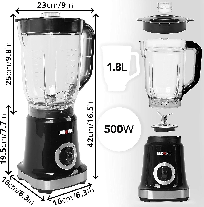 Carafe de 1,8L gradu/ée sans BPA sauces Id/éal pour smoothies Rangement simplifi/é cocktails Duronic BL5 Blender//Mixeur /électrique de 500W en inox glace pil/ée milkshakes Lames d/étachables