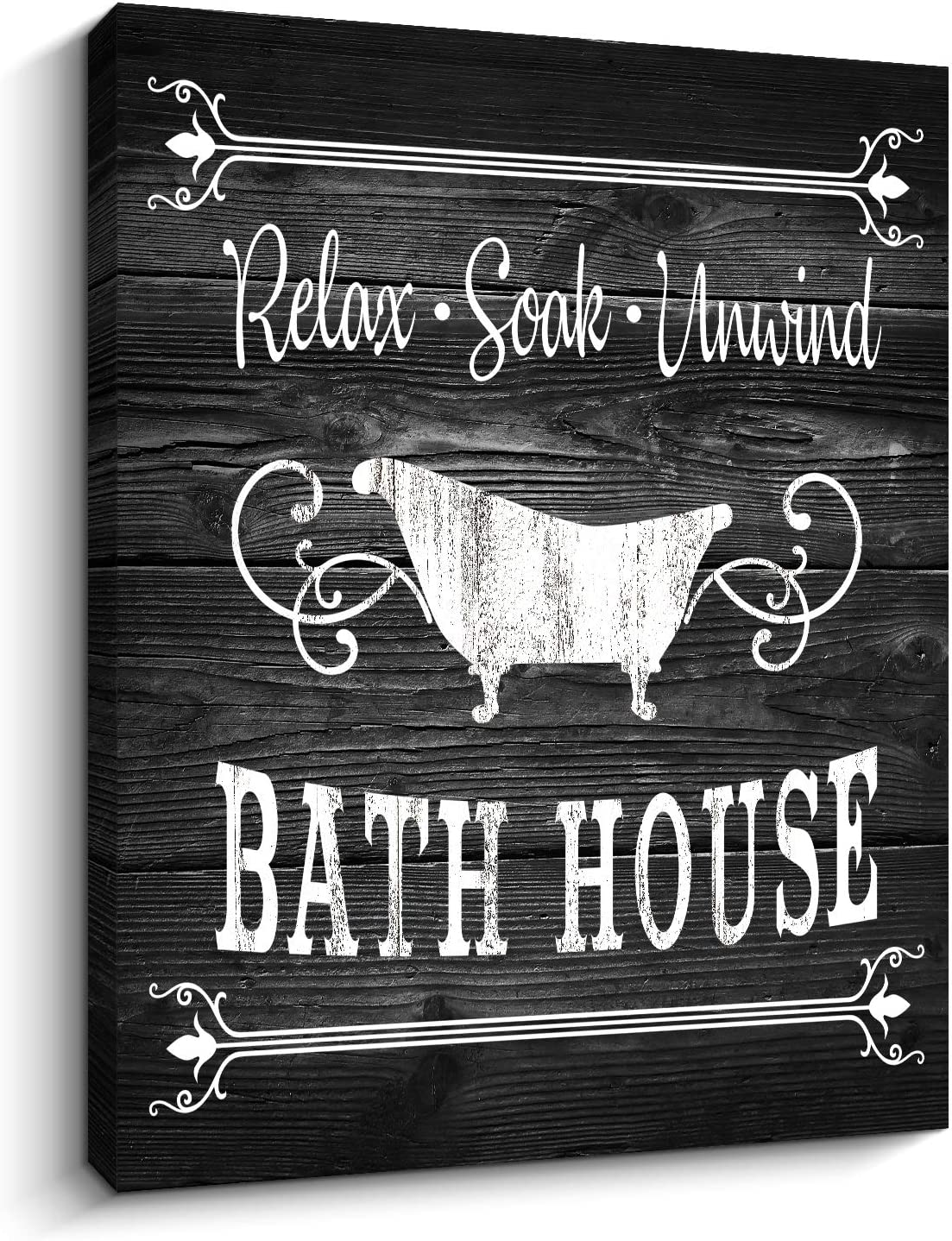 "Bathroom Rules Sign Vintage Canvas Prints Bath Signs Wall Art Decor Rustic Laundry Room Decor for Bathroom Apartment (12"" x 16"", Bath (Black))"