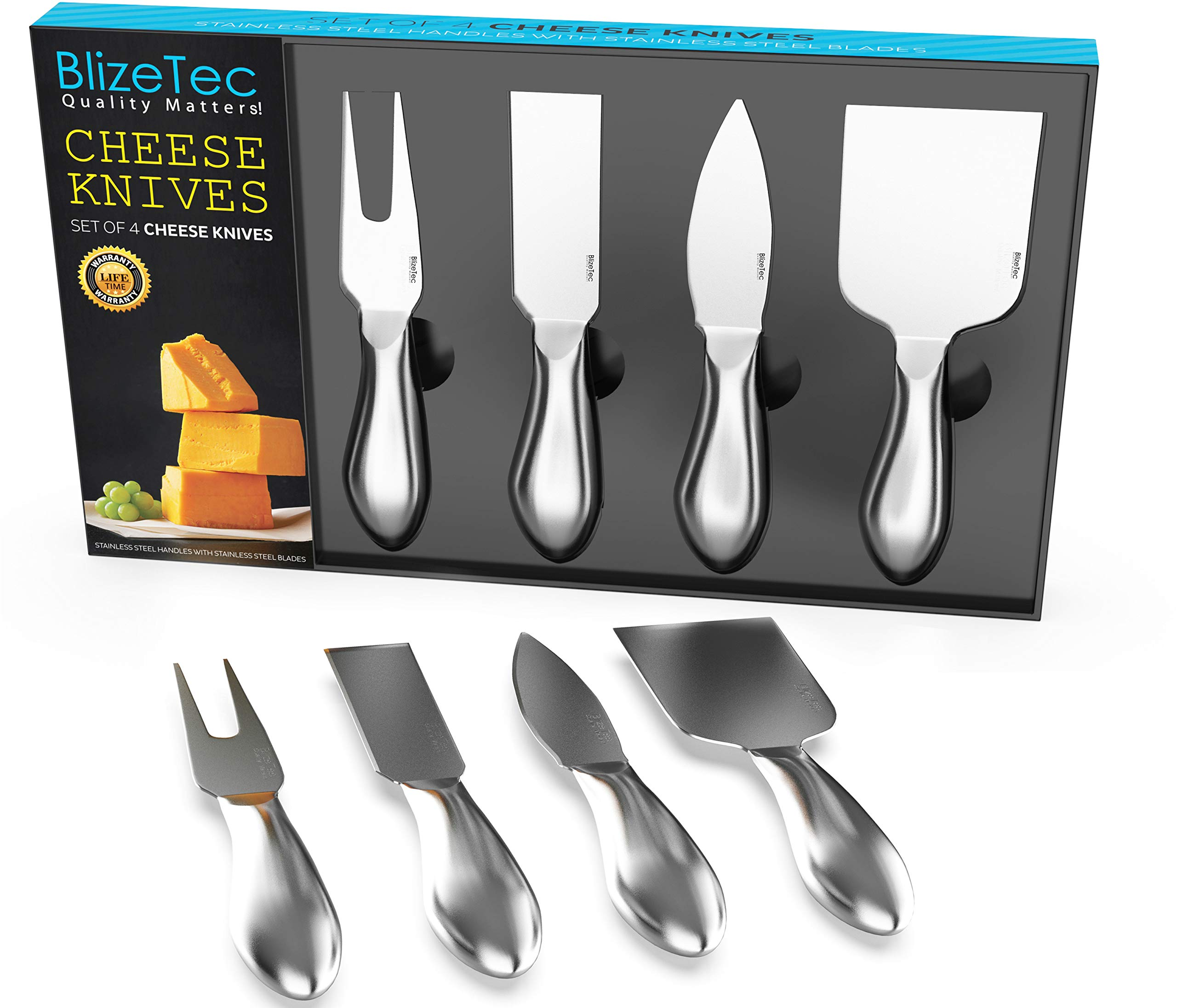 Cheese Knives: BlizeTec Cheese Slicer & Cutter Set (4 pcs) by BlizeTec