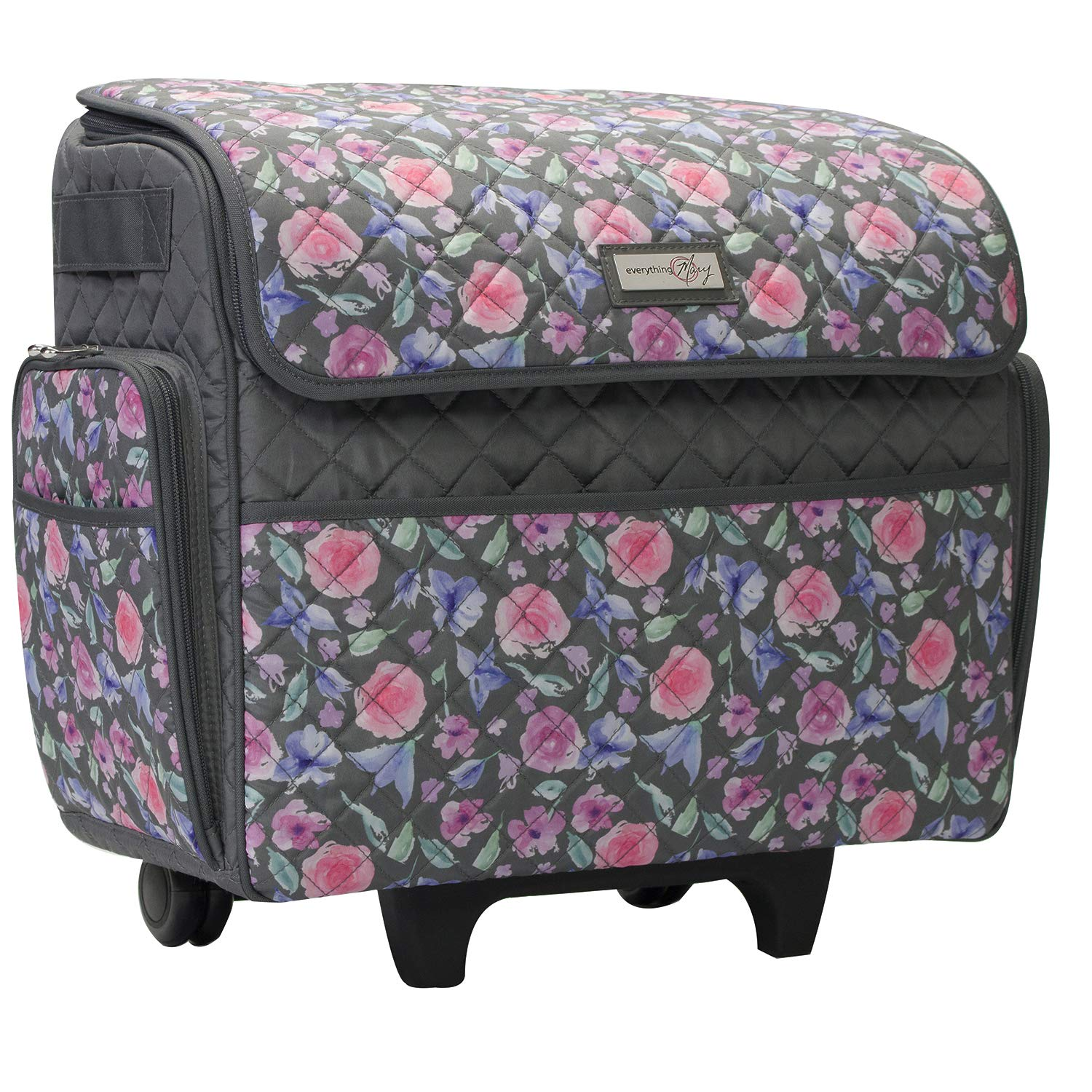 Everything Mary Deluxe Quilted Pink and Grey Floral Rolling Sewing Machine Tote - Sewing Machine Case Fits Most Standard Brother & Singer Sewing Machines, Sewing Bag with Wheels & Handle by Everything Mary