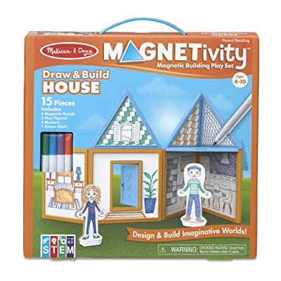 Melissa & Doug Magnetivity Magnetic Tiles Building Play Set – Draw & Build House (15 Pieces, 8 Panels, 4 Dry-Erase Markers): Toys & Games