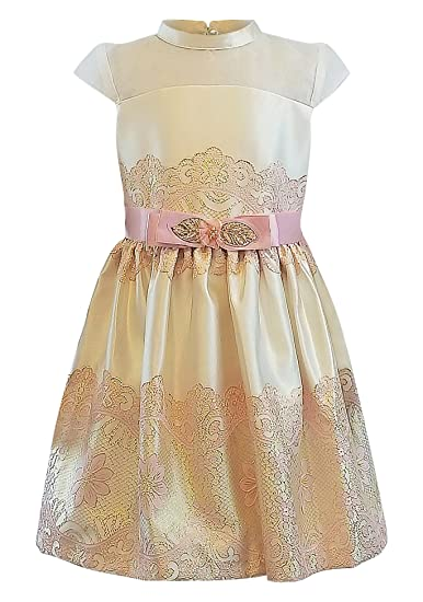 a0a7098dbb5a78 Bonnie Jean Big Girl s 7-16 Cap Sleeve Illusion Metallic Jacquard Party  Dress (7