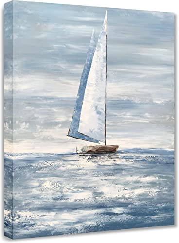 Yihui Arts Large Classica Blue Sailing Boat Canvas Wall Art Painting Picture