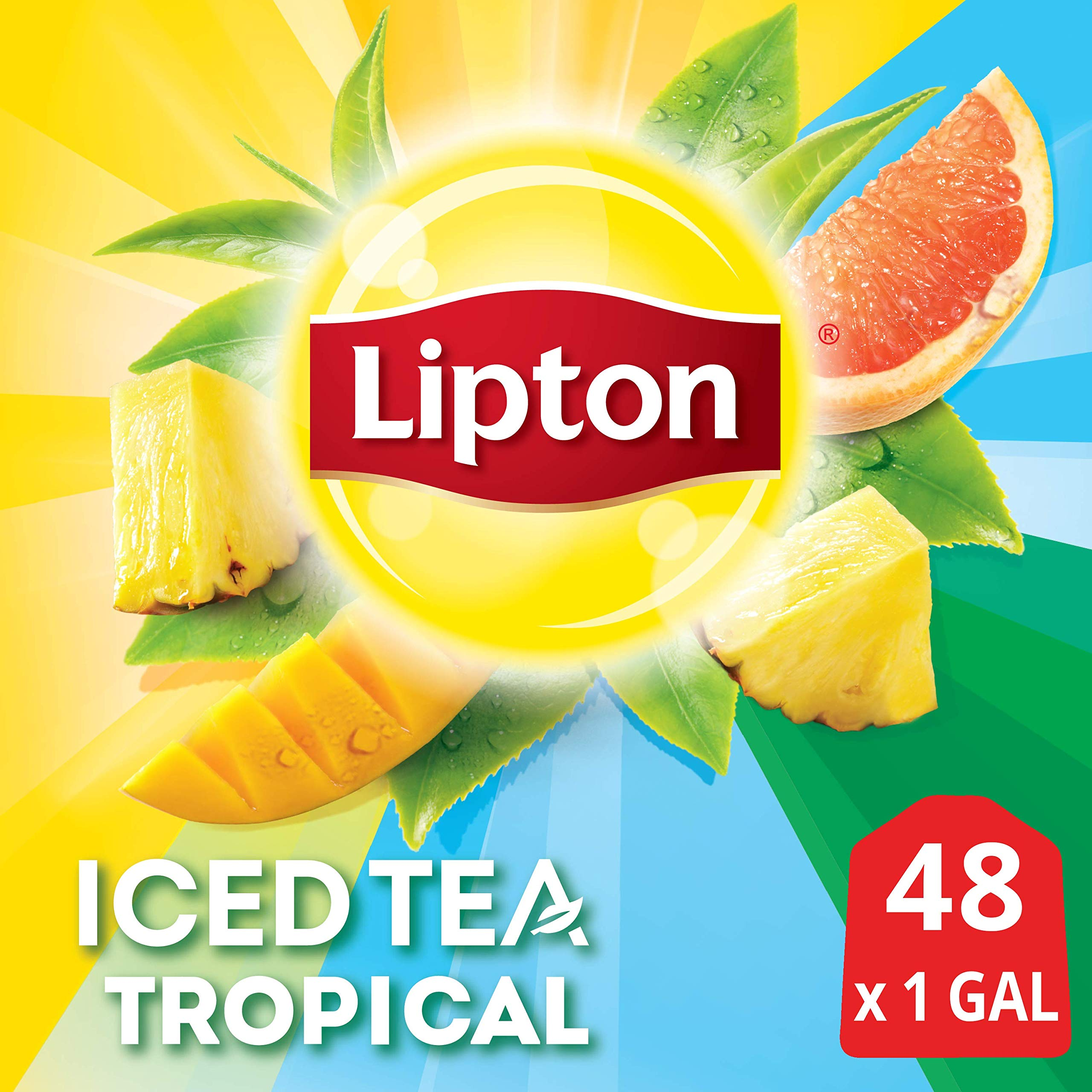 Lipton Tropical Unsweetened Iced Tea Bags Made with Tea Leaves Sourced from Rainforest Alliance Certified Farms, 1 gallon, 2x Pack of 24 by Lipton