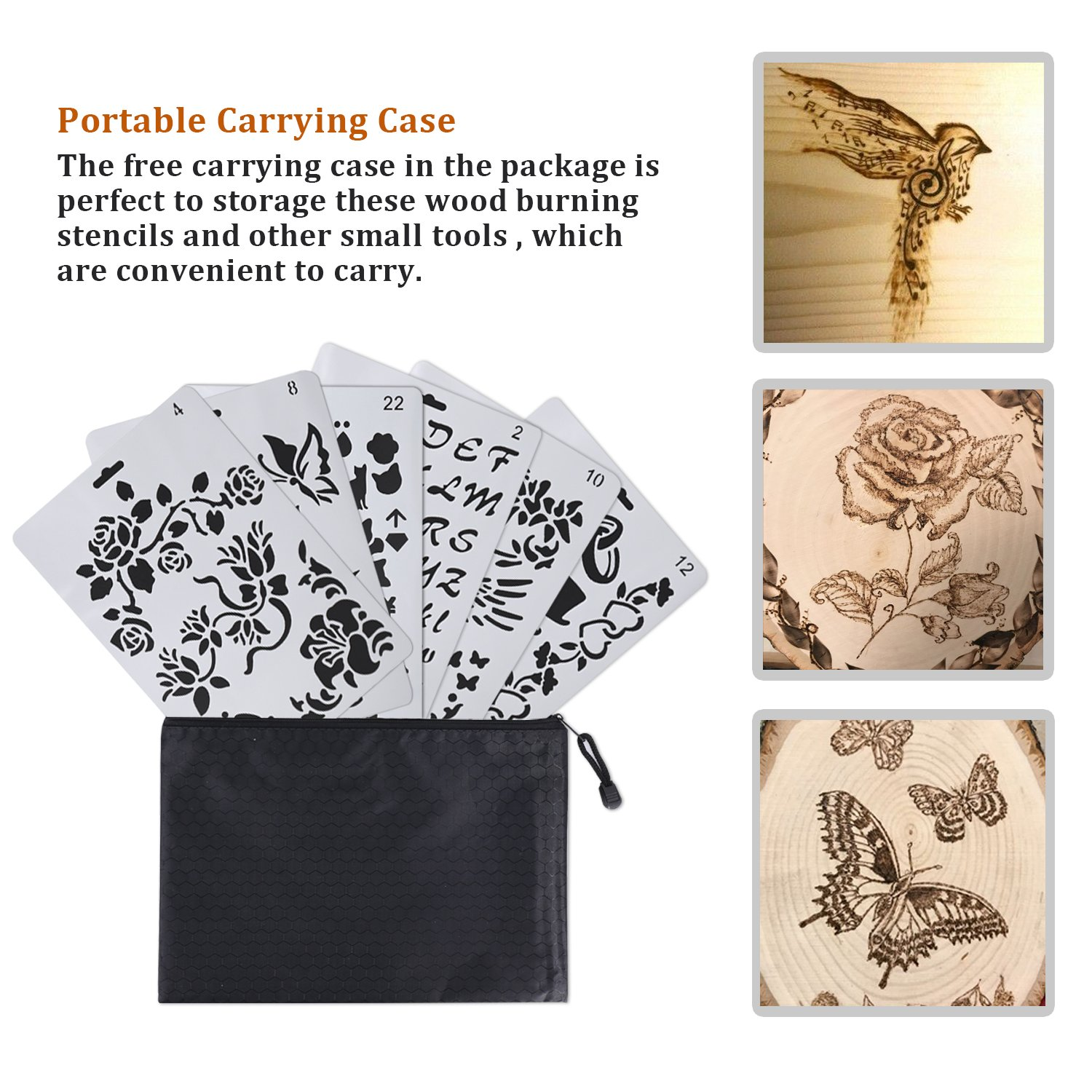 6 pcs wood burning stencils pyrography plastic templates set for wood burningcarving with letters number