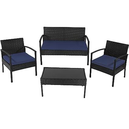 Wondrous Sunnydaze Anadia 4 Piece Black Rattan Patio Furniture Set With Dark Blue Cushions Download Free Architecture Designs Aeocymadebymaigaardcom