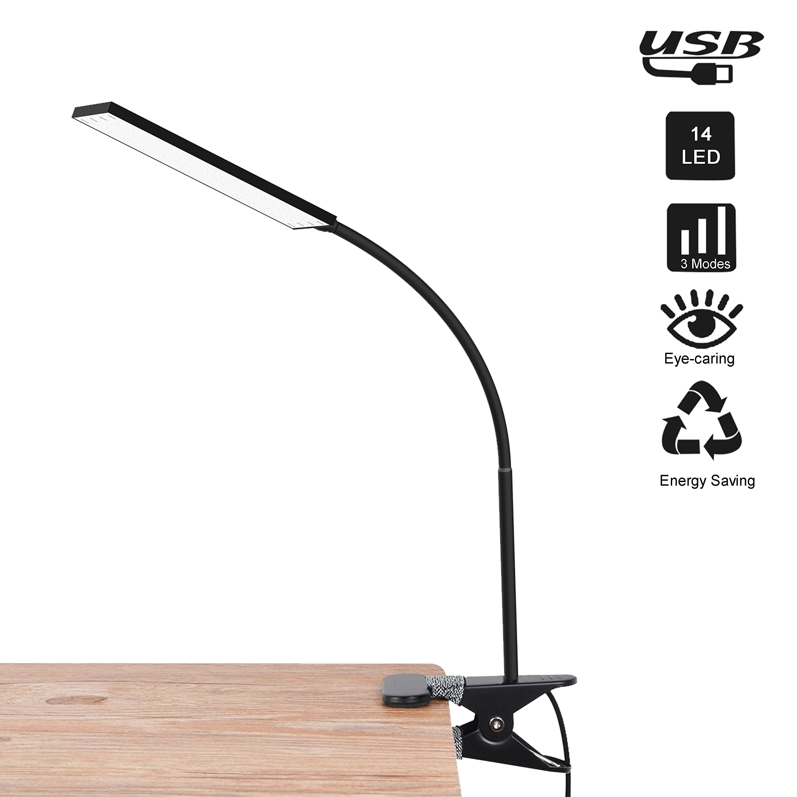LED Desk Lamp, RAOYI Eye-Care Dimmable Flexible Gooseneck USB Table Lamp, 3 Color Temperatures, 14 Brightness Levels Clip Reading Lamp for Studying, Working, Black