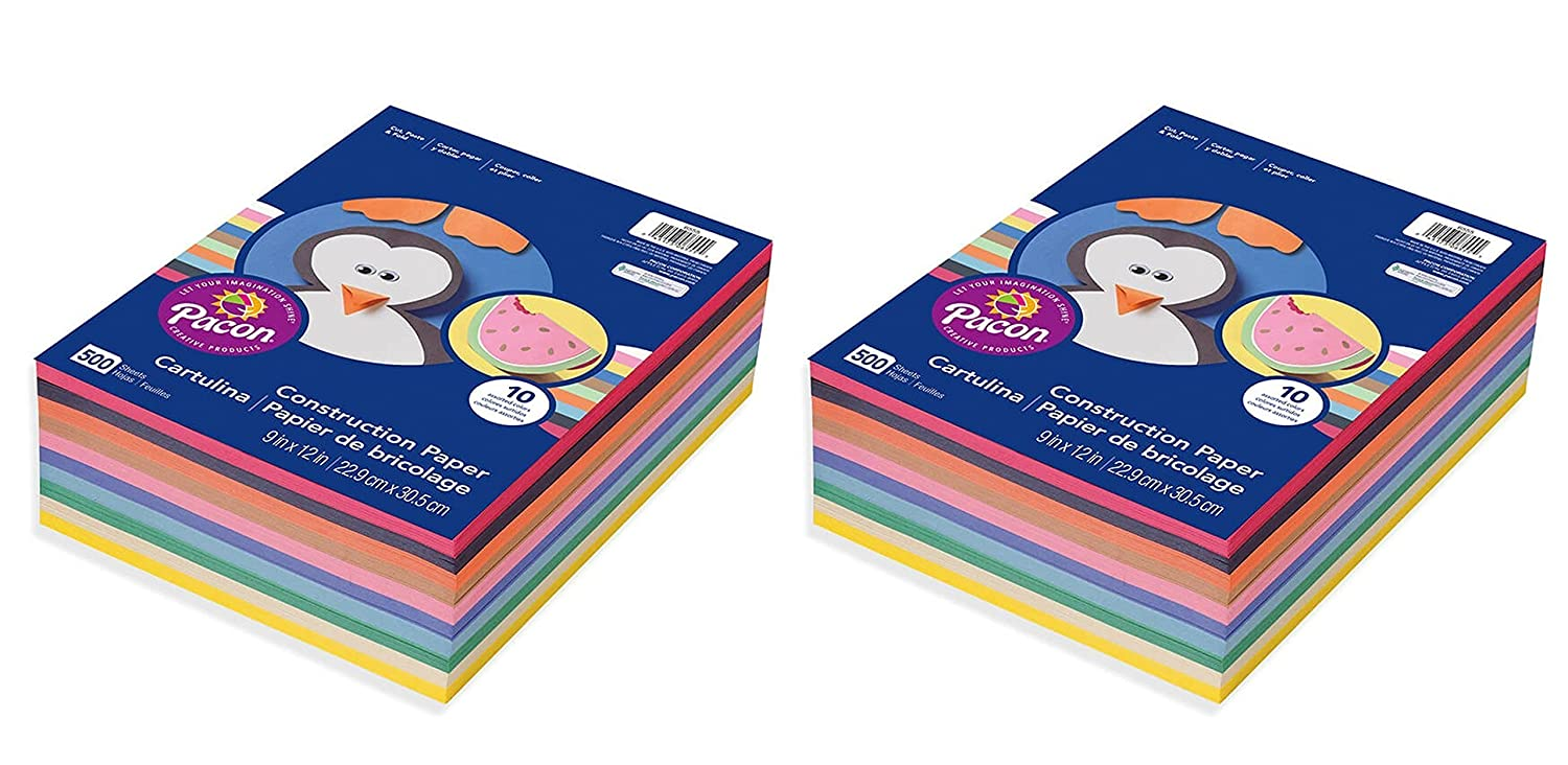 Pacon 9 x 12, 6555 Rainbow Super Value Construction Paper Ream, Assorted, 500 Sheets (2 Pack)