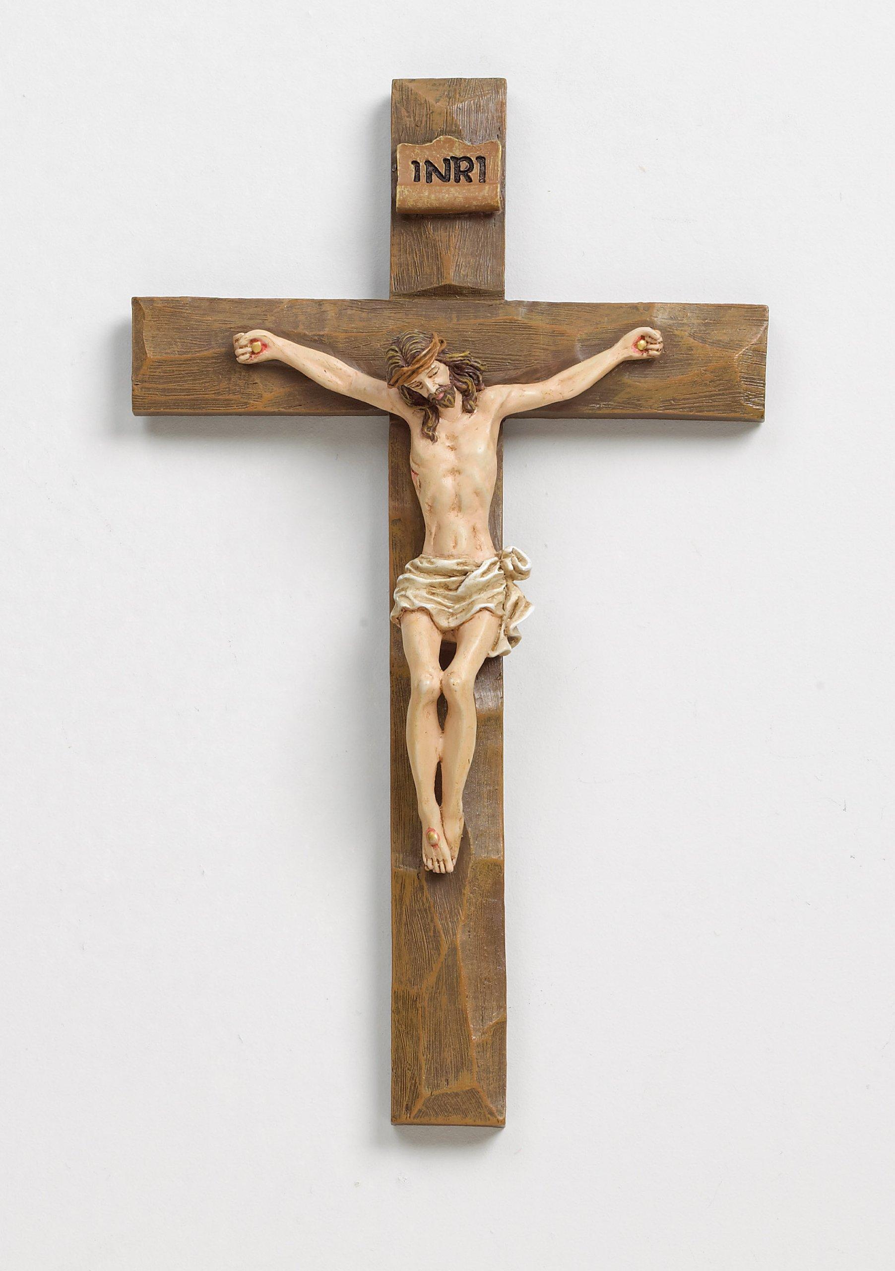 Roman 8'' Inri Driftwood Texture Crucifix Wall Cross