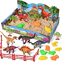 FUN LITTLE TOYS 29 PCs Play Sand Dinosaur Toys, Sand Box with Dinsoaur Figures, Dinosaur Molds, Magic Sand and Accessories