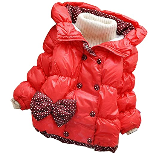 e253cd0d14c6 Amazon.com  Girl Kid Baby Toddler Bow knot Double-breasted Hoodie ...