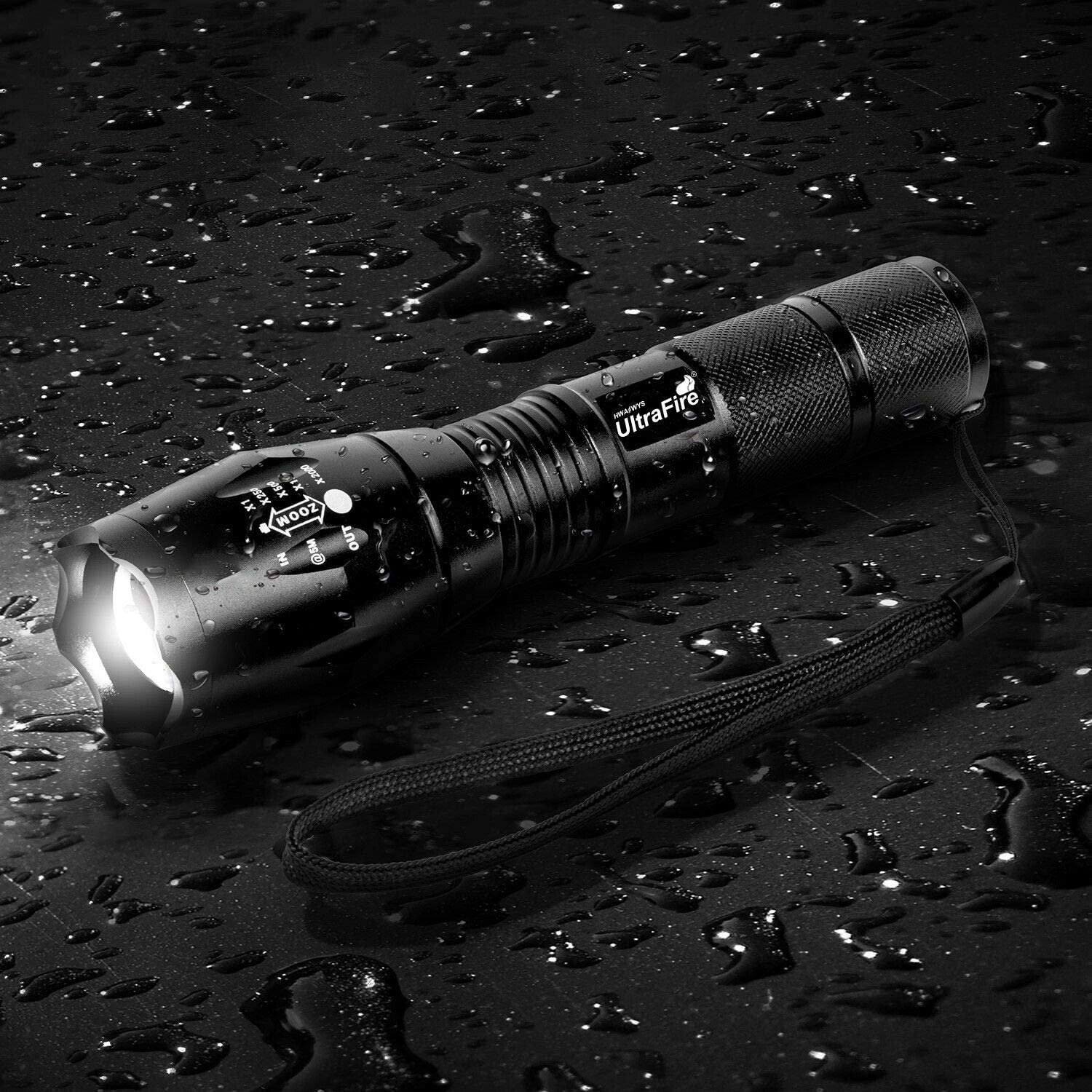 2 Ultra Bright Flashlights + 8Batteries + 1 Charger T6 LED Flashlight Pack Rechargeable Flashlight 2000 High Lumen 5 Modes Scalable Waterproof for Camping Outdoor and Emergency Situations Hiking