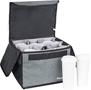PACMAXI Drink Carrier for Delivery and Food Delivery Bag, Drink Holder for Take Out Office, Picnic, Beach and Outdoor Activities, Waterproof Cup Carrier Tote with Removable Divider (6 Cups, Dark Grey)
