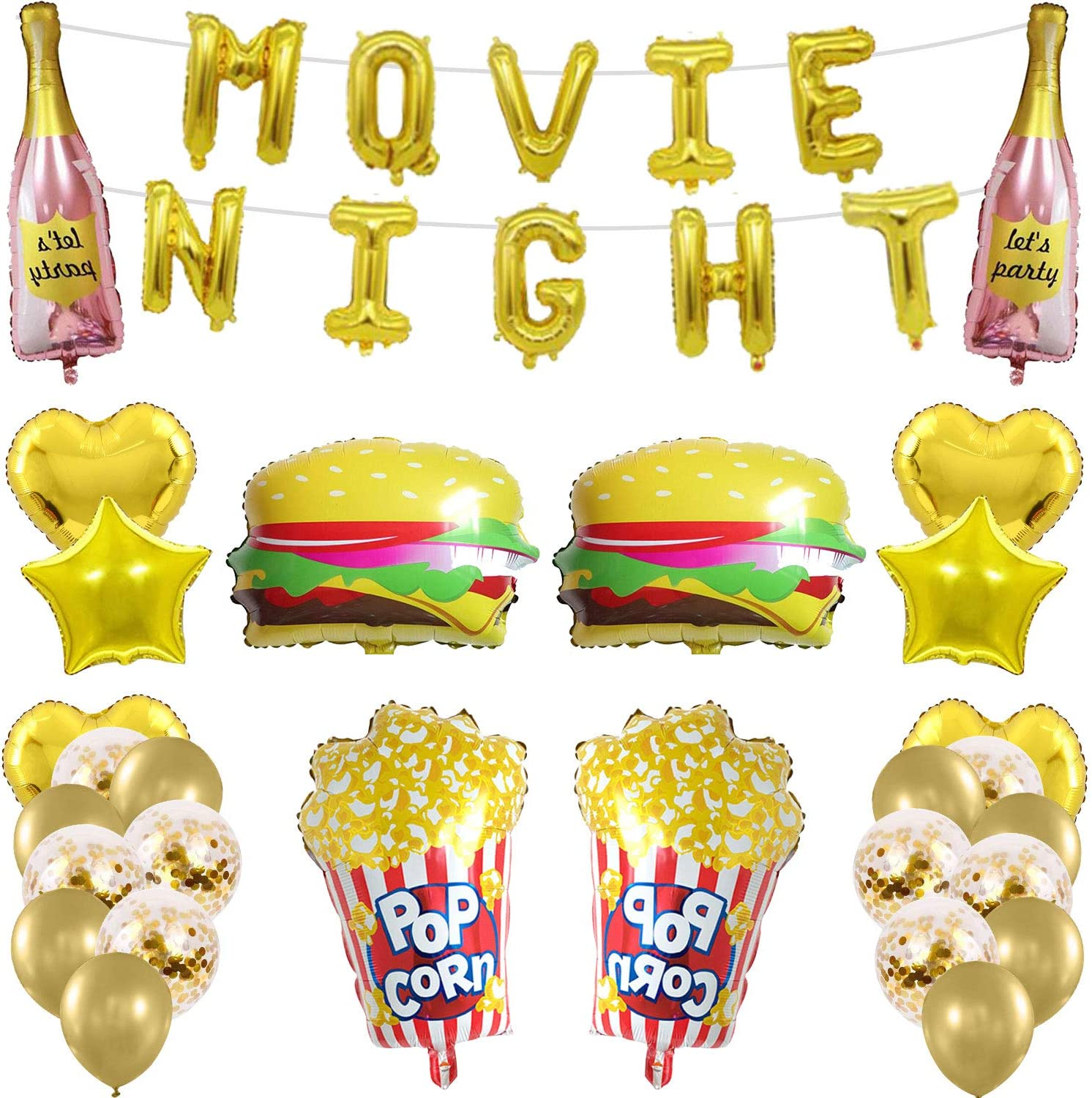 Amazon Com Molecole 49pcs Movie Night Themed Party Decoration Balloons Birthday Party Supplies For Hollywood Movie Party Supplies Balloon Decor For Indooroutdoor Backyard Movie Theater Party Toys Games