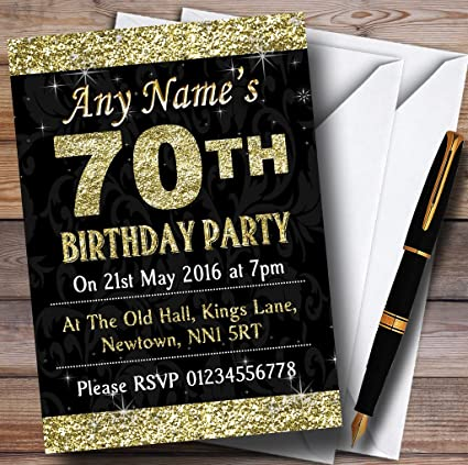 Image Unavailable Not Available For Color Glitter Look Gold 70Th Birthday Party Personalized Invitations