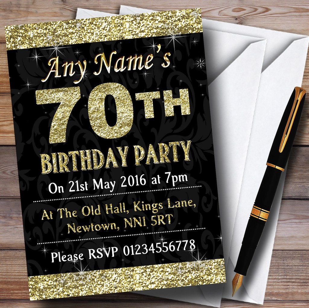 Glitter Look Gold 70Th Birthday Party Personalized Invitations
