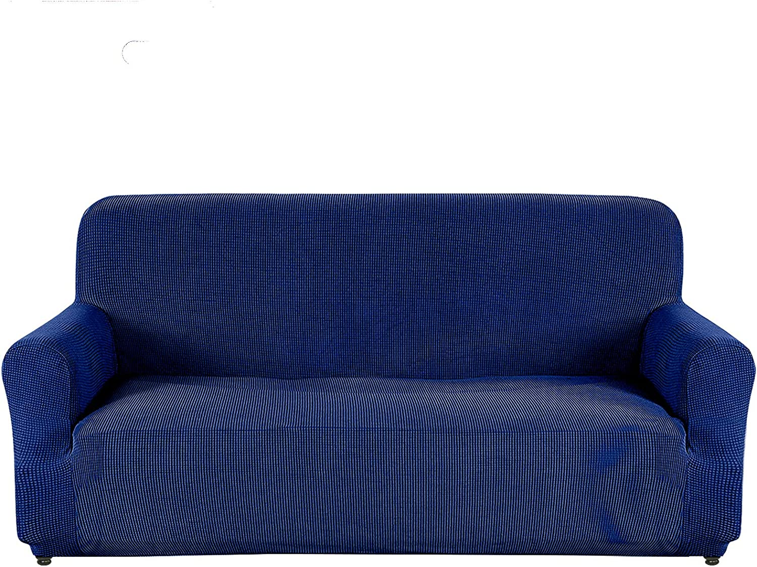 AUJOY Loveseat Cover Stretch 1-Piece Couch Slipcover for 2 Cushion Couch Jacquard Spandex Fabric Sofa Furniture Protector with Anti-Slip Foams (Loveseat, Navy Blue)