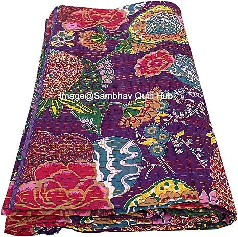 Handmade Floral Fruit Kantha Quilt Kantha Bedspread Kantha Blanket BedCover Pure Cotton Kantha Throw Bed Cover