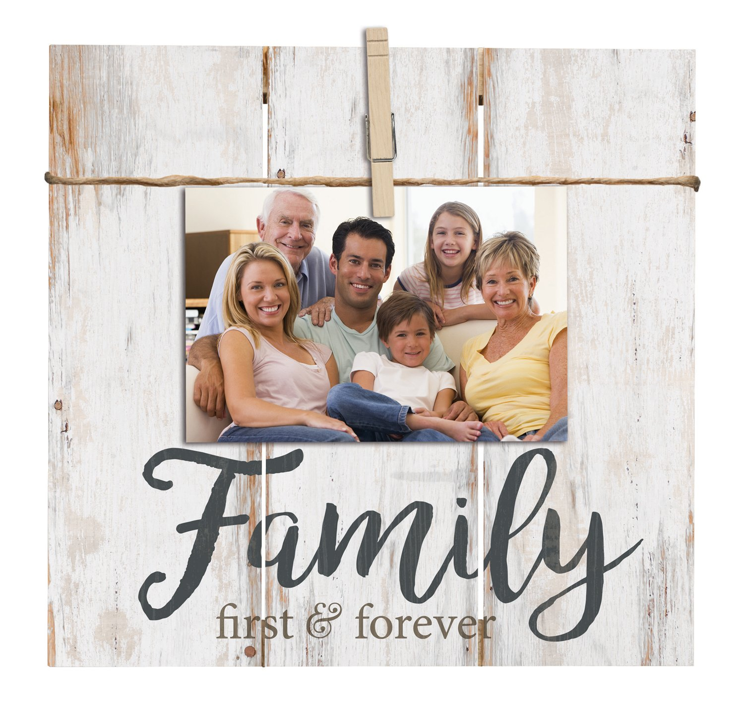 Family First & Forever 11 x 10 Inch Solid Pine Wood Clothesline Clipboard Photo and Momento Display
