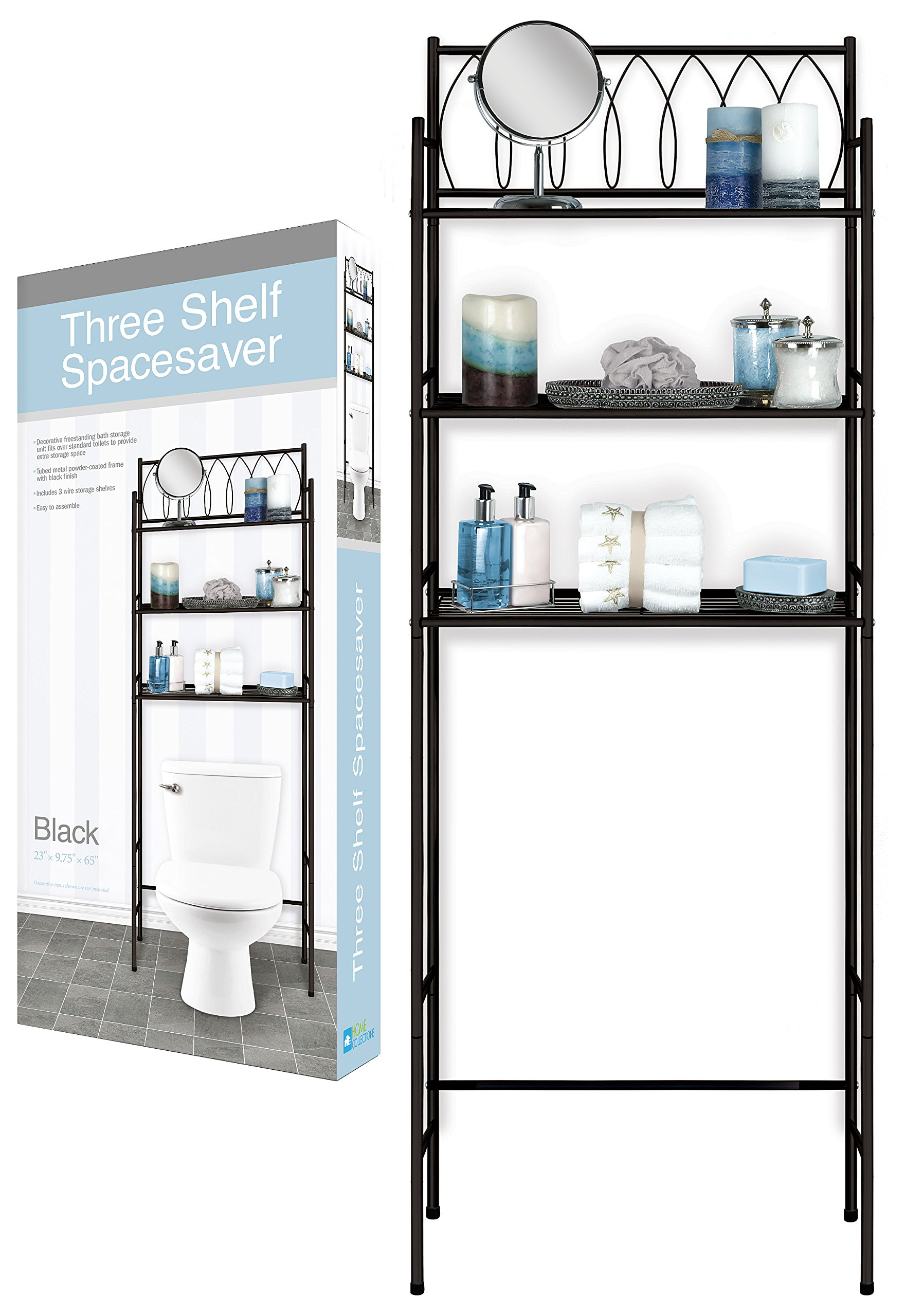 DINY Home Collections 3 Shelf Over The Toilet Spacesaver Easy to Assemble (Black) 65'' Tall