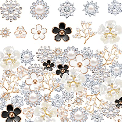 20Pcs Alloy Faux Pearls Rhinestones Flowers Buttons for Crafts Decorations 11 mm